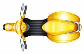 Illustration of a yellow scooter on a white background