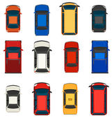 A topview of a group of vehicles on a white background