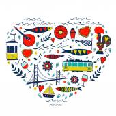 Travel concept card Illustration of love for Lisbon - heart with vector icons Vector illustration