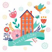 Home sweet home concept illustartion with house ribbon bird  and flowers