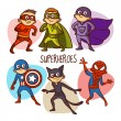 Постер, плакат: Superheroes Kids Vector Illustartion