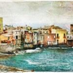 Постер, плакат: Old village in Corsica Erbalunga artistic picture