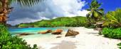 Tropical holidays in Seychelles , panoramic view of Takamaka bay