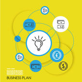 Yellow template of business plan with rings