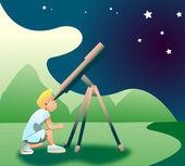 Clip art of a boy looking toward the sky using the telescope