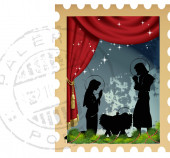 Clip art illustration of Christmas themed stamp