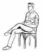 Fashion outline illustration of man sitting in cafe Ink hand drawn sketch isolated on white Clip art