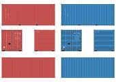 20 feet shipping container in four views Vector without gradients on one layer