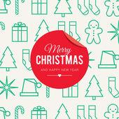 Christmas card with christmas icon and symbol