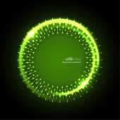 Abstract techno background with spirals and rays with glowing particles Tech design Lights vector frame Glowing dots  green jade malachite lime