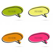 Set hand drawn speech bubble Vector frame Text box Multicolor red orange green yellow