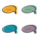 Set hand drawn speech bubble Vector frame Text box Multicolor purple blue green yellow