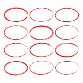 Set hand drawn ovals felt-tip pen circles Underlining note highlight important information Rough frame elements
