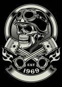 Vintage Biker Totenkopf mit gekreuzten Kolben-Emblem