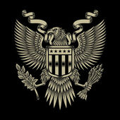 Fully editable vector illustration of american eagle emblem on black background image suitable for emblem insignia badge crest tattoo or graphic t-shirt