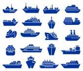 Ship and boat icon set Vector illustratio