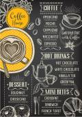 Coffee restaurant brochure vector coffee shop menu design Vector cafe template with hand-drawn graphic Coffee flyer