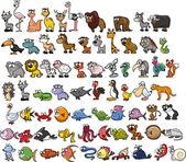 Set of cute cartoon animals Vector illustration