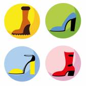 Vector icons of different shoes
