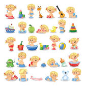 Vector illustration of baby boys and baby girls Various posesFirst year activities Baby activities icons - baby in diaper crawling sitting smiling sleeping baby and others