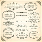 Set of vintage ornaments and labels on a beige background