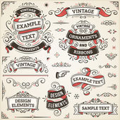 Large set of vintage vector ornaments and ribbons The fonts are called