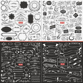 Very large collection of hand drawn vector design elements such as corners ribbons banners swirls catchwords ampersands and flags