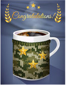 Greeting card mug of coffee in the men knit cover background  with a pattern camouflage military Vector illustration