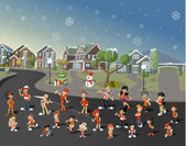 Cartoon people on suburb neighborhood on christmas night