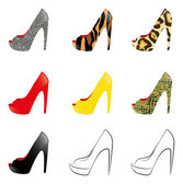 Multi Coloured High Heels on white Background