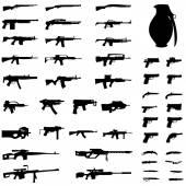An Illustration Set - Weapons - Pistols Sub Machine Guns Assault Rifles Sniper Rifles LMGs Knives Grenades
