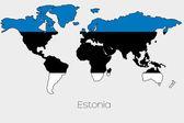 Illustrazione della bandiera allinterno della forma di una mappa del mondo del paese