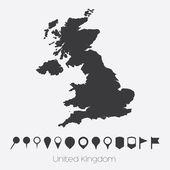 Mappa con puntatori del paese del Regno Unito