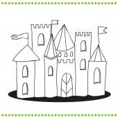 Coloring book - Line Art Illustration of a Castle