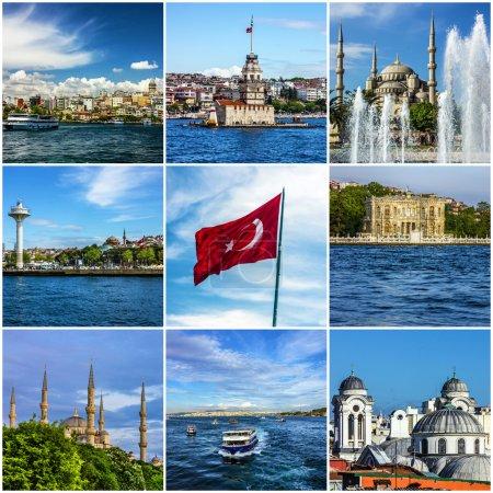 Collage Istanbul landmarks, Turkey
