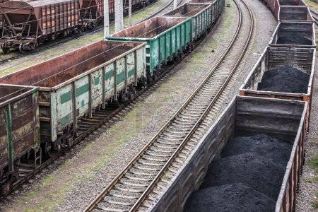coal cargo in railway cars