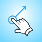 Vector modern flat design hand swipe with one finger gesture icon isolated on blue background
