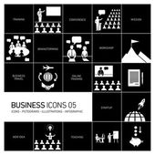 Vector modern flat design business icons and illustrations set of training businessman on conference or workshops white pictograms and infographics isolated on black background