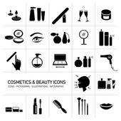 Vector cosmetic, makeup and beauty icons set flat design black illustrations and pictograms isolated white black background