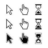 Ikony, kurzory pixel - PřesýpacíHodiny ukazatel myši kurzor ruky. Vektorové ilustrace