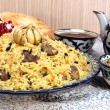 Постер, плакат: Pilaf Eastern food rice oil meat and spices