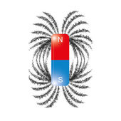 Image of iron filings magnetic field lines vector