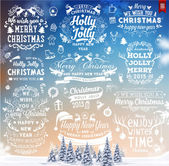 Hand Drawn Christmas And New Year Decoration Set Of Calligraphic And Typographic Designs Labels and Elements Symbols And Icons Collection for Holiday Greeting Cards Banners Posters and Placards