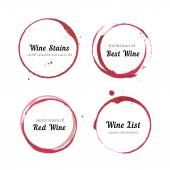Vector set of Wine stain circles splashes and spot isolated on white background for logo design Watercolor hand drawing glass marks