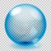 Transparentní modrá skleněná koule se škrábanci