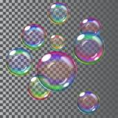 Set of multicolored transparent soap bubbles Transparency only in vector file