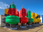 Colorful Buoys in a storage
