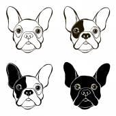Vector illustration set of cute bulldogs muzzles
