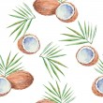 Постер, плакат: Seamless pattern with coconuts
