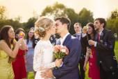 Novomanželé líbání na svatební hostinu